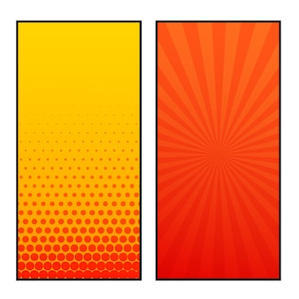 Two vertical comic pages style banner design
