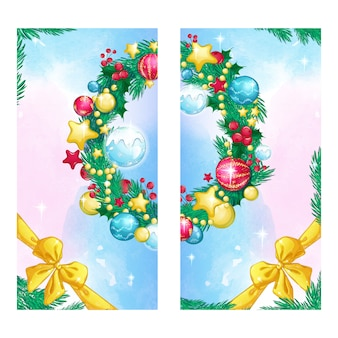 Two vertical holiday card with a christmas tree wreath decorated balls, gold bow