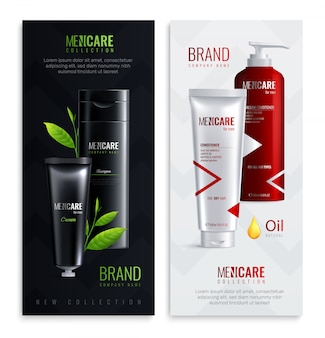 Two vertical mens cosmetics bottles realistic banner set with mencare collection headline vector illustration