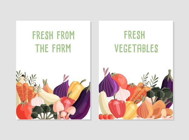 신선한 유기농 야채와 텍스트를위한 장소가있는 두 개의 수직 포스터 템플릿
