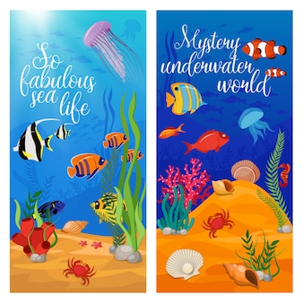 Two vertical sea life animals plants set with fish and titles