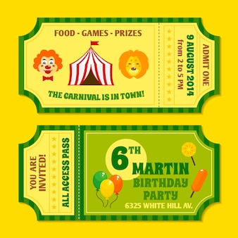 Two vintage circus carnival birthday party invitation tickets templates with clown and balloon isolated vector illustration