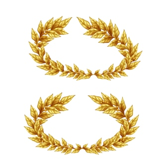 Two vintage golden laurel wreaths isolated on white background in realistic style illustration