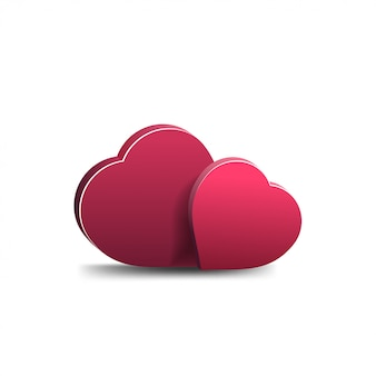 Two voluminous hearts isolated on a white background