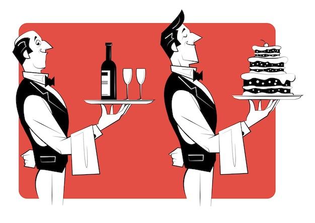 두 명의 웨이터가 케이크와 함께 은색 쟁반을 들고 있습니다. 와인과 와인 잔 한 병. 스케치 스타일의 레트로 그림입니다.