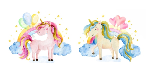 Two watercolor unicorns and rainbow clipart