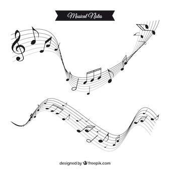 Two wavy staves with musical notes in flat design