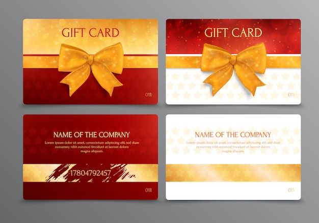 Two way design of discount scratch gift card with place for company name in gold and red colors isolated