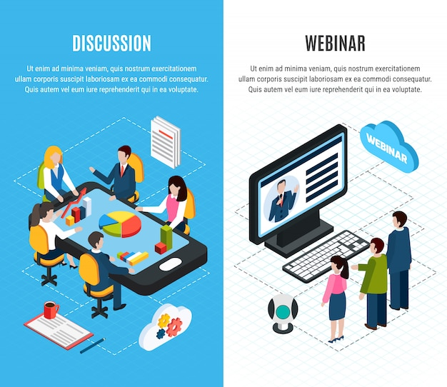 Two webinar isometric banner set