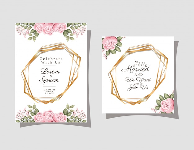 Two wedding invitations with gold ornament frames and roses flowers on gray background