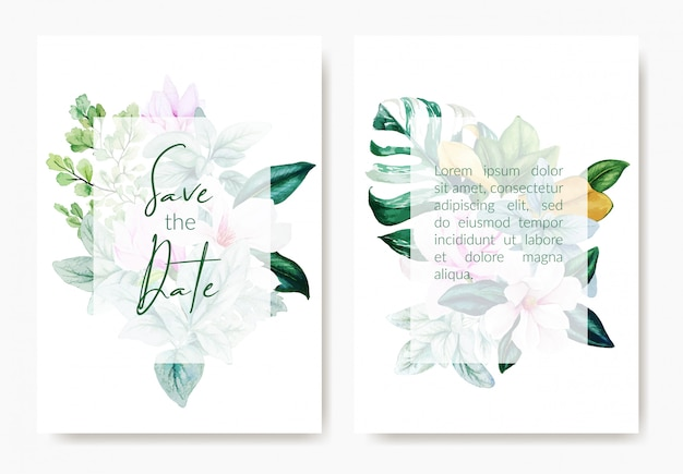 Two wedding templates cards, pink magnolia flowers