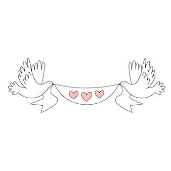 Два свадебных белых голубя держат ленту с сердечками. свадебный декор. векторная иллюстрация