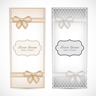 グリーティングカード、ラベル、招待状、ポスター、バッジ用のビンテージスタイルの2つの結婚式の招待状。