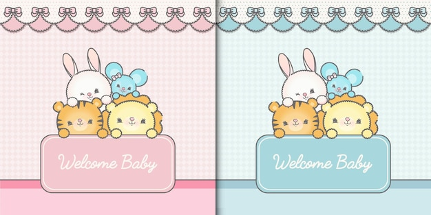 Two welcome baby template cards premium