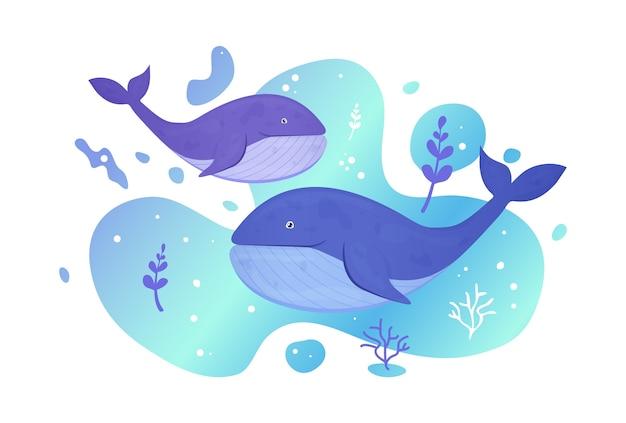海で2頭のクジラ。海の魚。水中の海洋野生生物。図。