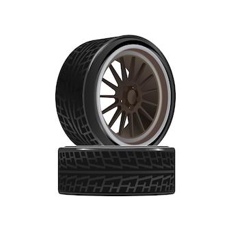 타이어와 바퀴가 달린 두 바퀴.