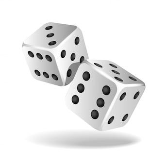 Две белые падающие кости на белом. казино, азартные игры шаблон концепции.