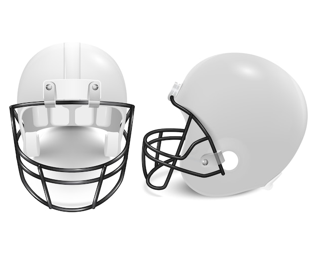 Two white football helmets - front and side view.