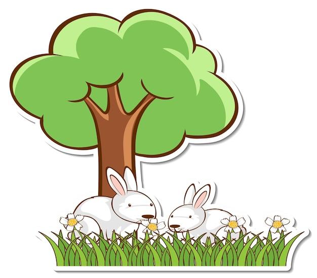 Два белых кролика под деревом наклейка