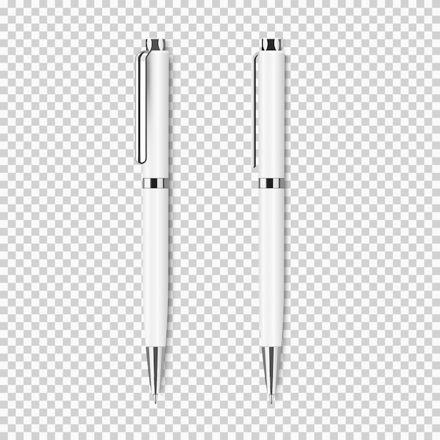 Two white realistic pen on transparent
