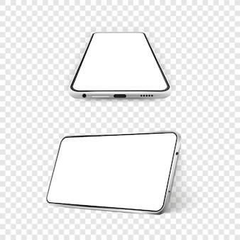 空白の白い画面で2つの白い現実的なスマートフォンのモックアップ3d携帯電話