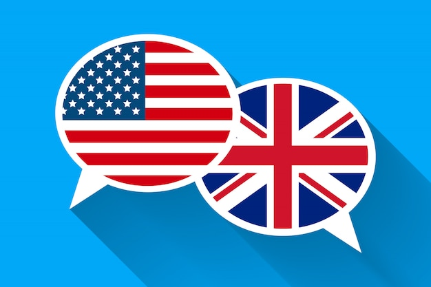 Two white speech bubbles with american and great britain flags.