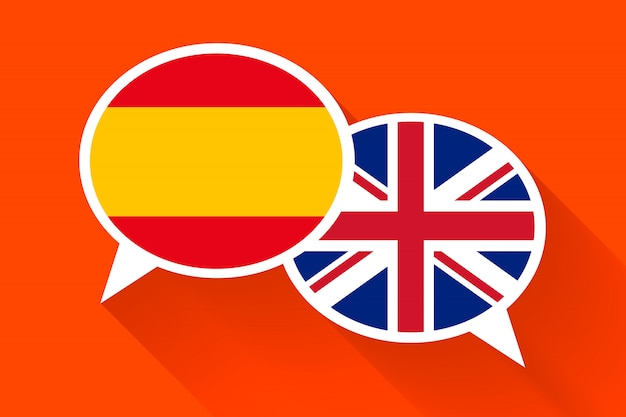 Two white speech bubbles with spain and great britain flags