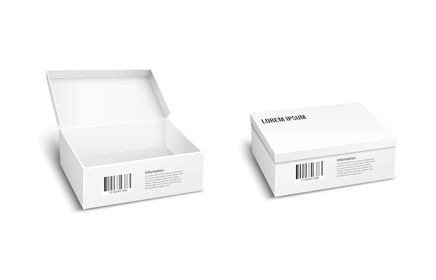 Two white vector packages or boxes  one with the lid open  the other closed  for storage of products and merchandise with an inventory barcode for mailing or dispatch