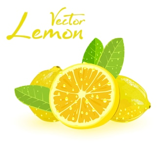 Two whole and one sliced lemons with green leaves