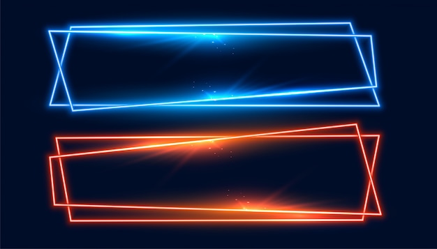 Two wide neon frames banner in blue and orange color