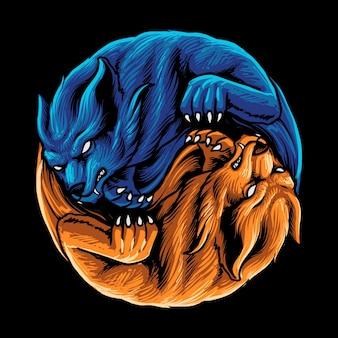두 야생 늑대 그림