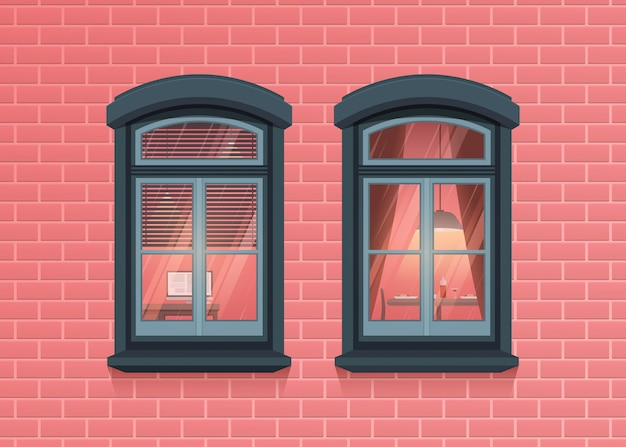 家のピンクのレンガの壁に2つのウィンドウフレームビュー