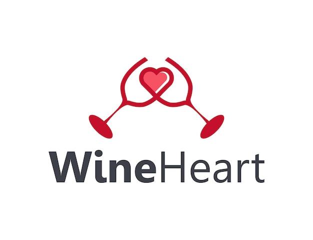 사랑의 마음으로 두 개의 와인 건배 단순하고 세련된 창조적 인 기하학적 현대 로고 디자인