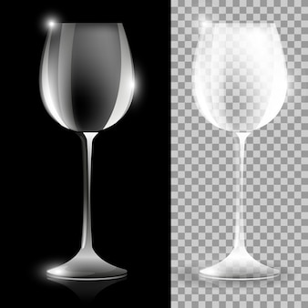 Two wine glass illustrations on black and clear background