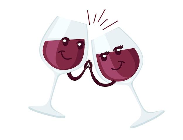 赤ワインの歓声と2つのワイングラスのマスコット漫画のキャラクターデザインフラットイラスト