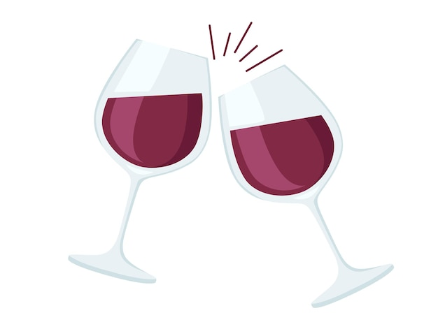 Два бокала с красным вином приветствуют плоскую иллюстрацию