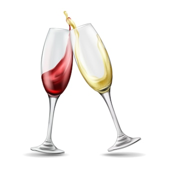 Two wine glasses with splash of red and white wine, celebratory toast, realistic illustration