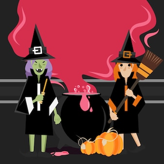 Two witches standing around cauldron with steam