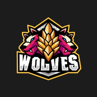 Two wolves illustration for gaming squad logo