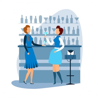 Two woman having rest at cocktail bar cartoon