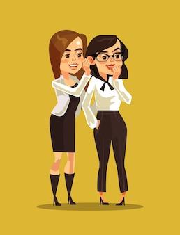 Две женщины офисные работники персонажей сплетничают.