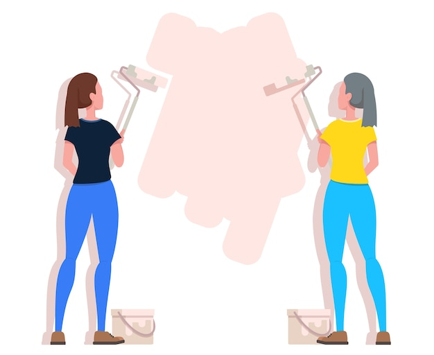 Two woman painting wall with roller paint