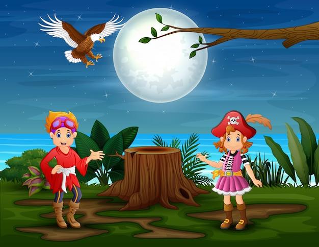 ジャングルの中で2人の女性海賊