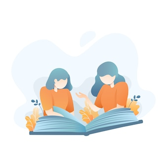 Two woman reading a book together illustration
