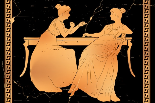 Two women are sitting at the table and having a conversation. vector image isolated on white background.