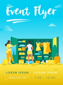 Two women choosing clothes for travel from wardrobe flyer template