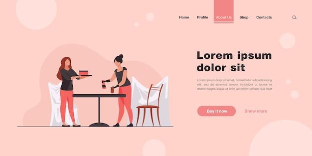 テーブルと部屋を掃除する2人の女性。仕事、協力。フラットスタイルのランディングページ