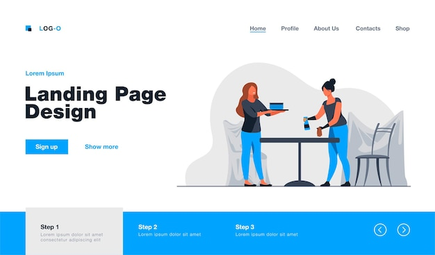 Two women cleaning table and room landing page template