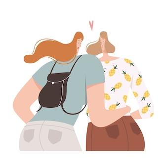 2人の女性がフラットデザインで寄り添ってキス