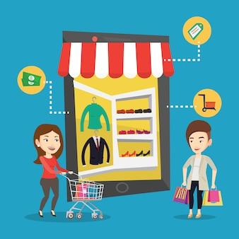 オンラインショッピングを行う2人の女性。